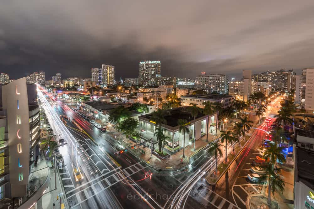 Miami Beach Florida on a rainy night