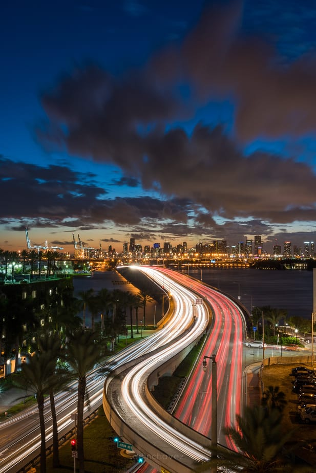 Miami Skyline at night shot from the best spots to photograph in miami beach