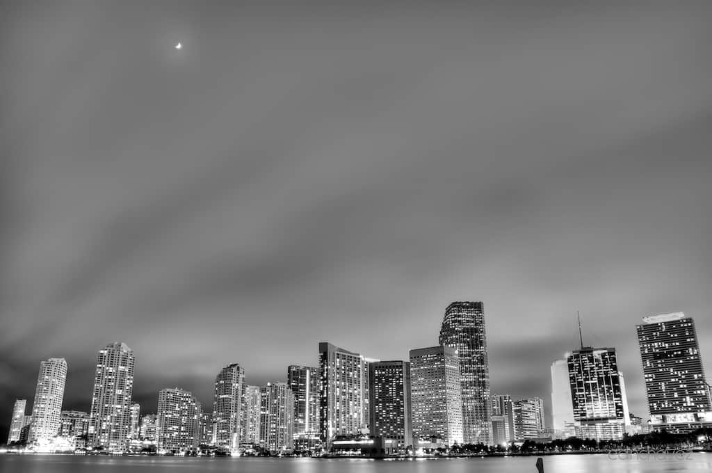 Shot of the Day-City Lights Under the Moon