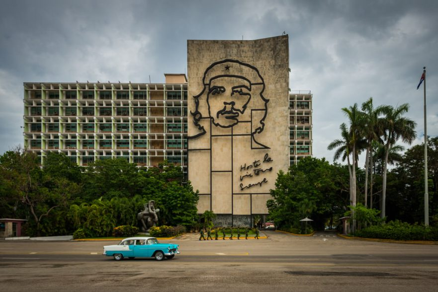 Plaza de la revolucion where the faces of el che guevara are