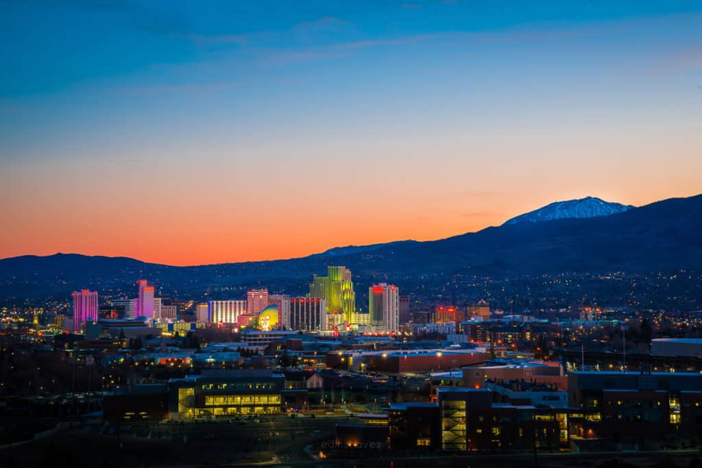 best photography spots reno nevada skyline at sunset