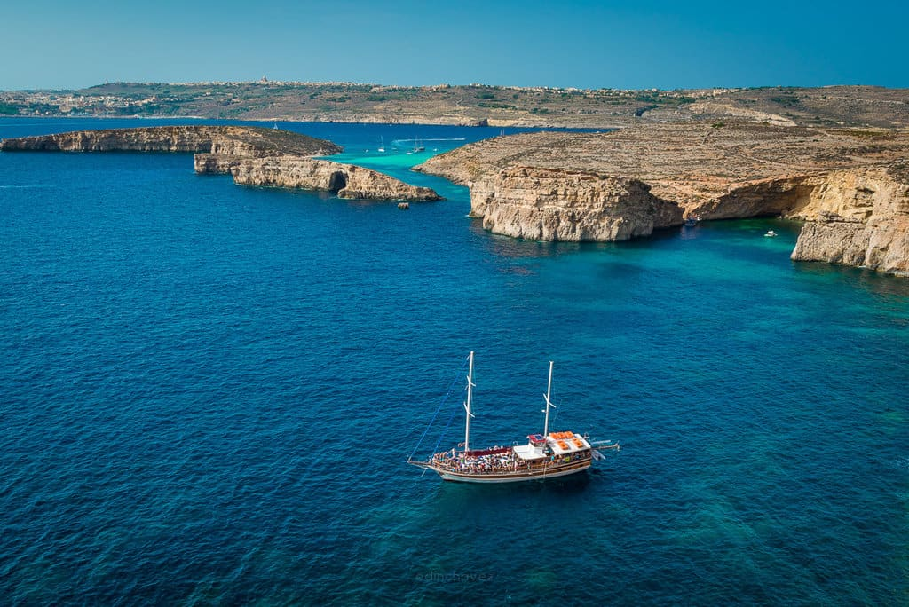 Views form Comino Island in Malta Gozo Snorkling ship