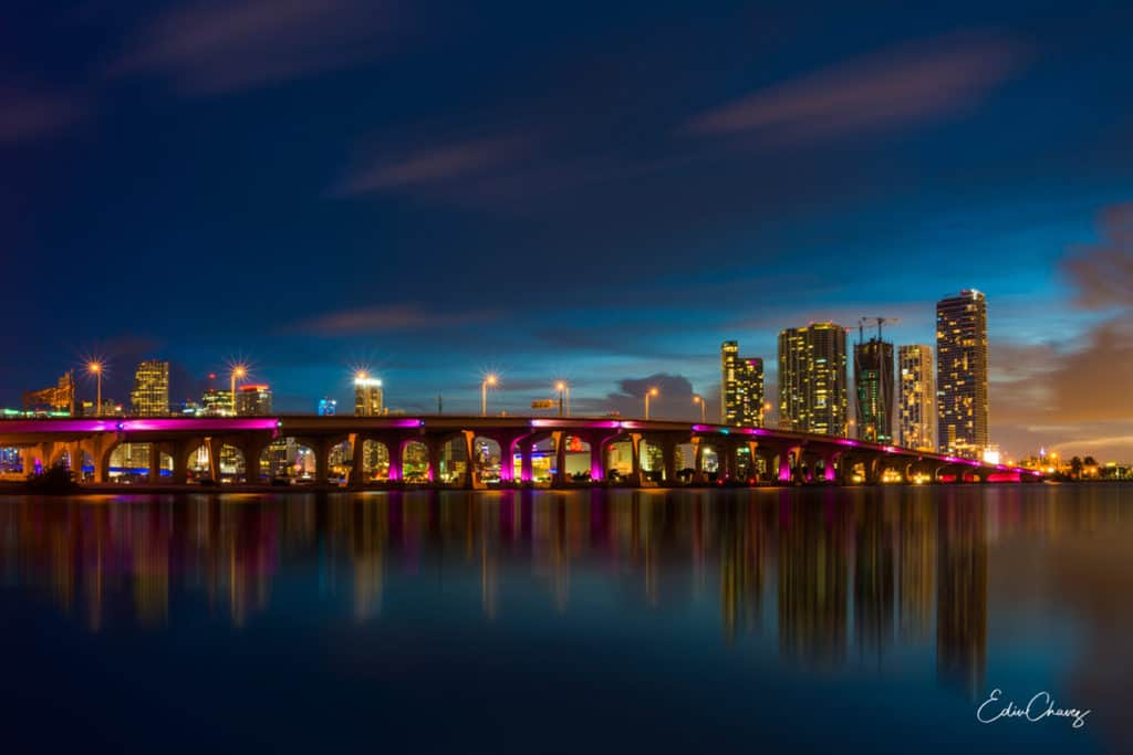MIami skyline at night fine art photo